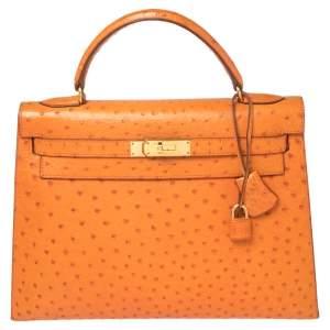 Hermes Orange Ostrich Gold Finished Kelly Sellier 32 Bag
