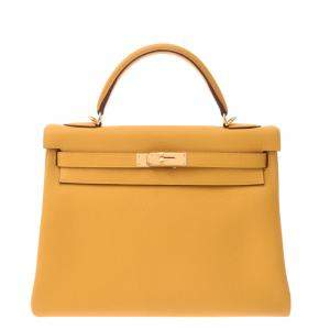 Hermes Yellow Togo Leather Gold Hardware Kelly 32 Bag