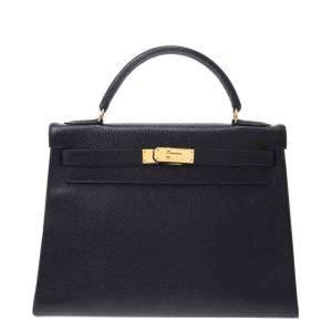 Hermes Black Ardennes Leather Gold Hardware Kelly 32 Bag