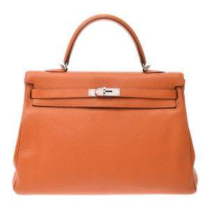 Hermes Orange Taurillon Clemence Leather Palladium Hardware Kelly 35 Bag