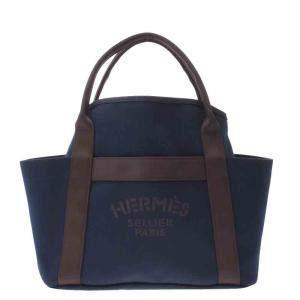 Hermes Navy Blue Sac De Pansage Canvas Tote Bag