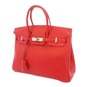 Hermes Red Leather Palladium Hardware Birkin 25 Bag