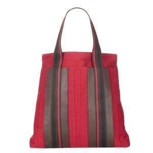 Hermes Dark Pink/Grey Leather Sac Troca Vertical Tote Bag