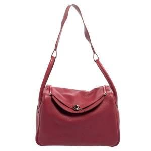 حقيبة هيرمس ليندي 34 جلد توريلون كليمينس توسكا أحمر داكن إكسسوار مطلي بلاديوم