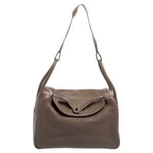 Hermes Etoupe Togo Leather Palladium Finish Lindy 34 Bag