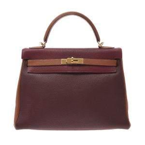 Hermes Multicolor Togo Leather Gold Hardware Kelly 32 Bag