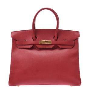 Hermes Red Leather Gold Hardware Kelly 35 Bag