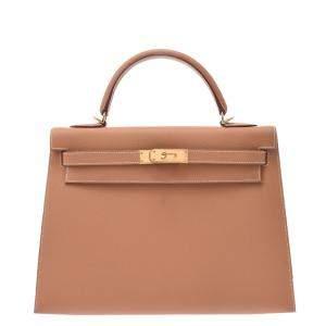 Hermes Beige Leather Gold Hardware Kelly 32 Bag