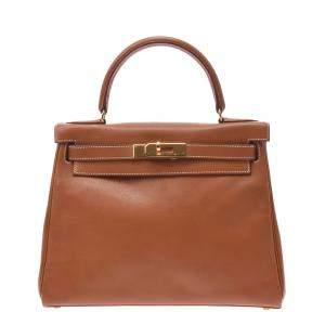 Hermes Brown Leather Gold Hardware Kelly 28 Bag