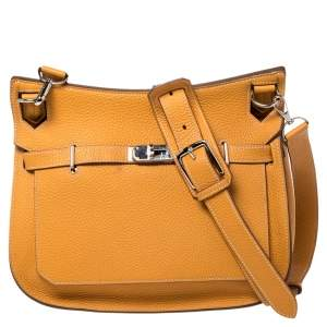 Hermes Jaune D'or Taurillon Clemence Leather Jypsiere 28 Bag