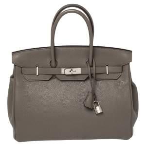 Hermes Gris Asphalt Taurillion Clemence Leather Palladium Finished Birkin 35 Bag