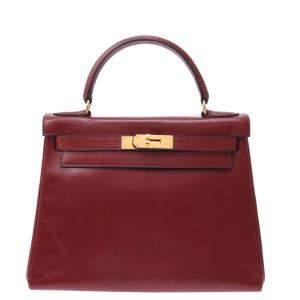 Hermes Red Leather Gold Hardware Kelly 28 Bag