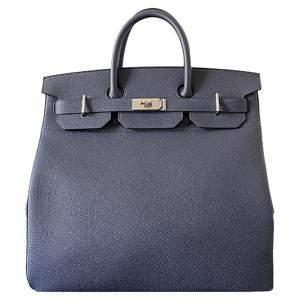 Hermes Bleu Nuit Togo Leather Palladium Hardware HAC Birkin 40 Bag