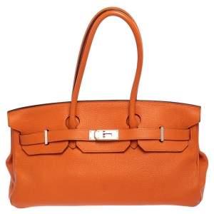 Hermes Orange Togo Leather Palladium Finished Shoulder Birkin JPG 42 Bag