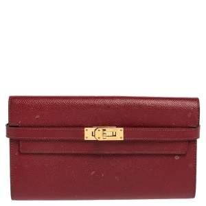 Hermes Ruby Epsom Leather Kelly Wallet