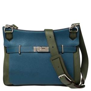 Hermes Bleu Thalassa/Canopee Taurillon Clemence Leather Palladium Hardware Jypsiere 34 Bag