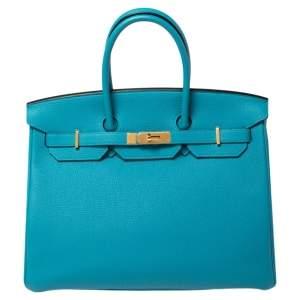 حقيبة هيرمس بيركين 35 جلد توغو تركواز بمعدن ذهبي