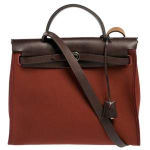 Hermes Rouge H/Ebene Canvas and Leather Herbag Zip 31 Bag
