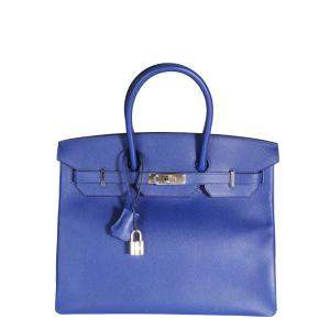 Hermes Blue 2014 Epsom Leather Palladium Hardware Birkin 35 Bag