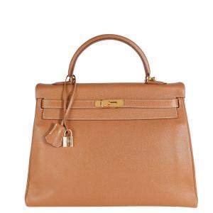 Hermes Gold/Beige Epsom Leather Gold Hardware Retourne Kelly 35 Bag