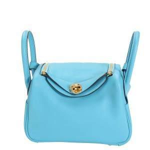 Hermes Blue Swift Leather Mini Lindy Bag