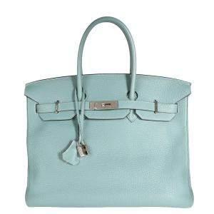 Hermes Blue Togo Leather Palladium Hardware Birkin 35 Bag