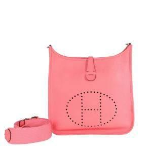 Hermes Rose Clemence Leather Evelyne III 29 Bag