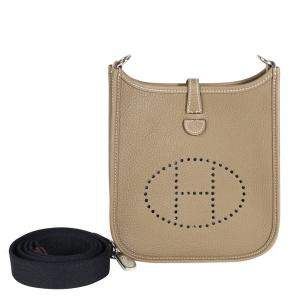 Hermes Etoupe Clemence Leather Evelyne TPM Bag