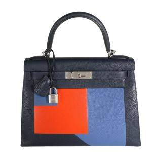 Hermes MulticolorLeather Palladium Hardware Limited Edition Kellygraphie Kelly 28 Bag