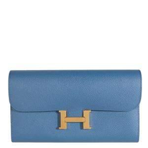 Hermes Blue Brighton Epsom Leather Constance Long Wallet
