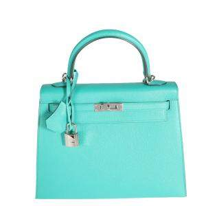Hermes Vert Blue Epsom Leather Palladium Hardware Sellier Kelly 25 Bag