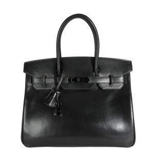 Hermes Black Box Calf Leather Palladium Hardware Birkin 30 Bag
