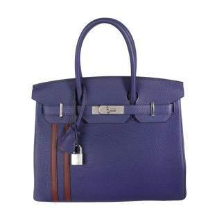 Hermes Blue Bordeaux Togo Leather Palladium Hardware Officier Birkin 30 Bag