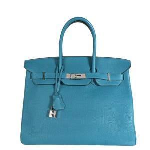 Hermes Colvert/Blue Togo Leather Palladium Hardware Birkin 35 Bag