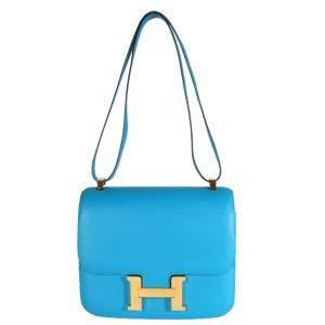 Hermes Blue Leather Constance 24 (2017) Bag
