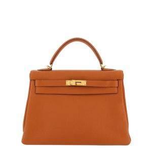 Hermes Orange Togo Leather Gold Hardware Kelly Retourne 32 Bag