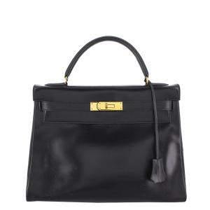 Hermes Black Box Calf Leather Gold Hardware Kelly Retourne 32 Bag