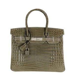 Hermes Gris Tourterelle Shiny Niloticus Crocodile Leather Palladium Hardware Birkin 30 Bag