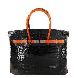 Hermes Black/ Orange Limited Edition Shiny Porosus Crocodile Leather Palladium Birkin 35 Bag