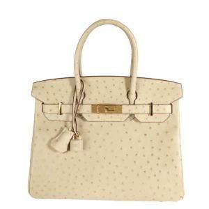 Hermes White/Parchemin Ostrich Leather Gold Hardware Birkin 30 Bag