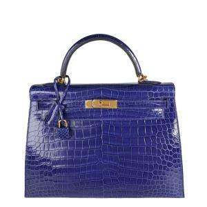 Hermes Electric Blue Shiny Porosus Crocodile Leather Gold Hardware Sellier Kelly 32 Bag