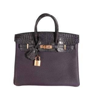 Hermes Raisin Togo & Prunoir Matte Alligator Leather Gold Hardware Birkin 25 Bag