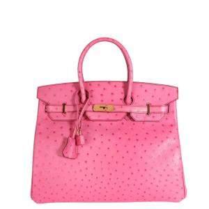 Hermes Fuchsia Pink Ostrich Leather Gold Hardware Birkin 35 Bag