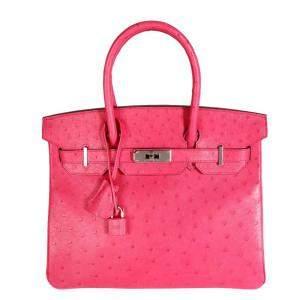 Hermes Rose Tyrien Ostrich Leather Palladium Hardware Birkin 30 Bag