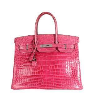Hermes Rose Scheherazade Shiny Porosus Crocodile Leather Palladium Hardware Birkin 35 Bag