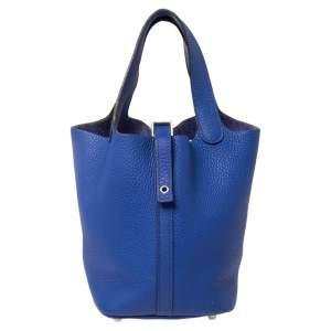 Hermes Bleu Electrique Taurillon Clemence Leather Picotin Lock PM Bag