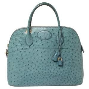 Hermes Blue Jean Ostrich Gold Finished Bolide 35 Bag