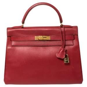 Hermes Rouge VIF Courchevel Leather Gold Finished Kelly Retourne 32 Bag