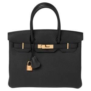 حقيبة هيرمس بيركين 30 جلد توغو أسود بإكسسوار ذهبي وردي