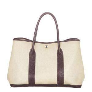 Hermes Beige/Brown Canvas Leather Medium Garden Party Tote Bag